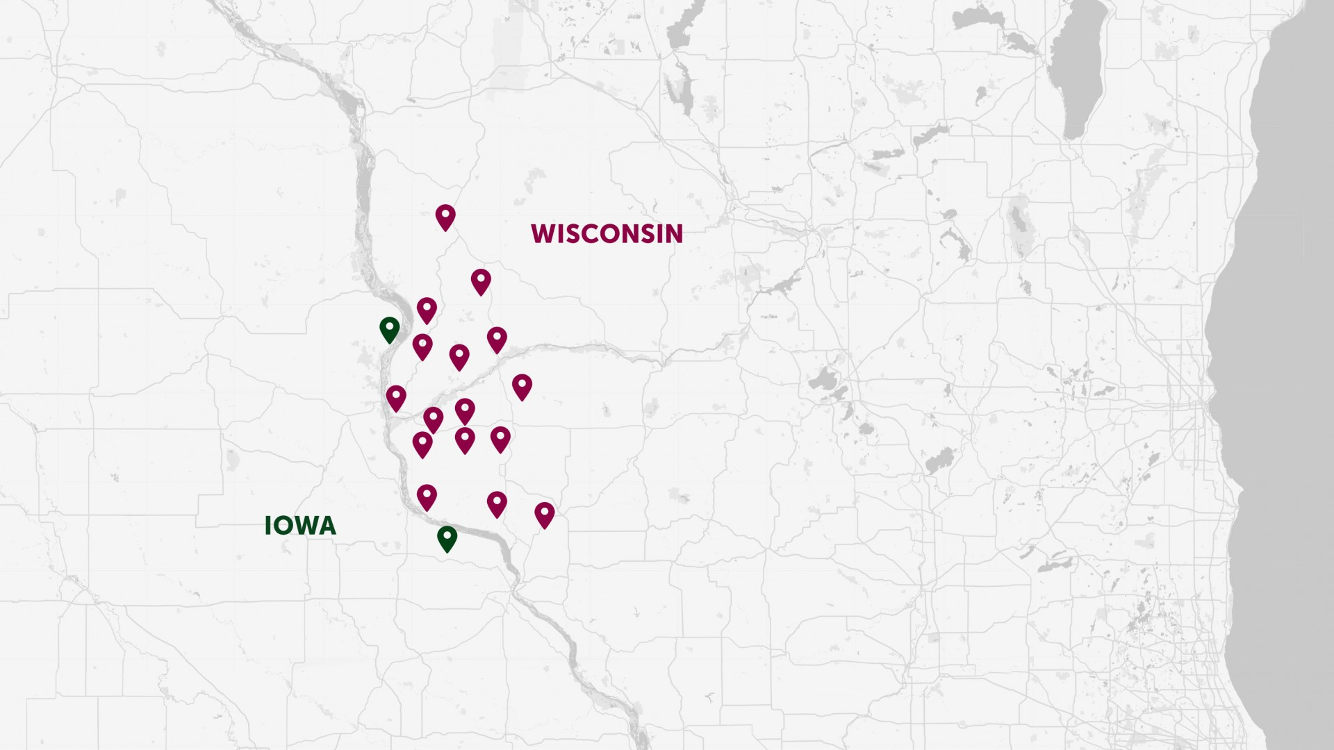 Map with pins showing bank locations in Iowa and Wisconsin